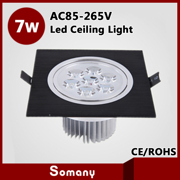 ФОТО Hot Lustres Home Led Plafond Recessed Lighting CE&ROHS AC85-265V Sliver/Black CE&ROHS 770LM Square 7W Led Recessed Ceiling Lamps