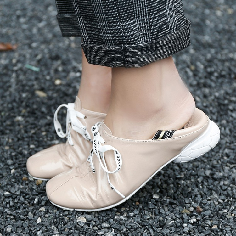MLJUESE 2019 women flats Cow leather square toe black color lace up flats shoes spring autumn