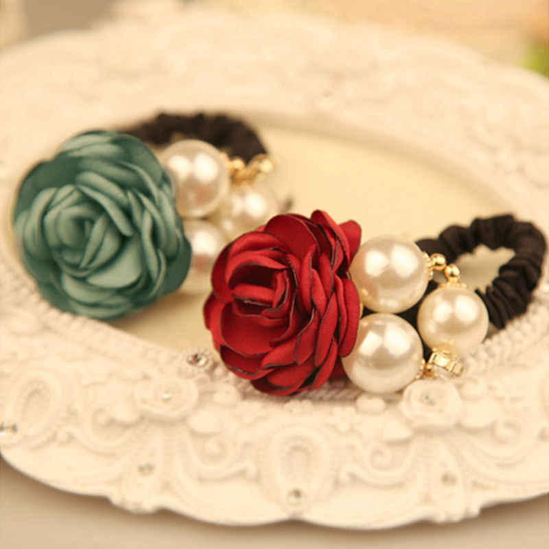 New Pearl Flower Hair Bands for Women Girls Satin Big Rose Three Pearls Decor Elastic Hairbands Ponytail Headband