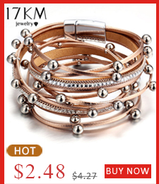 Flash Deal 17KM Gold Silver Color Beads Leather Charm Bracelets For Women Men Fashion Multiple Layers Wrap Bracelet Jewelry Gift