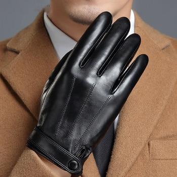 Genuine Leather Gloves Man's Sheepskin Gloves Plus Velvet Thicken Keep Warm Driving Male Mittens Touch Screen MLZ106 leather gloves female autumn winter keep warm plus velvet thicken touch screen sheepskin genuine leather woman gloves l18011nc 9