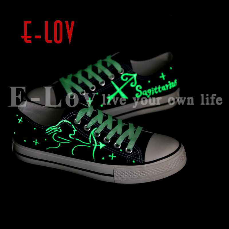 E-LOV Fashion Luminous Constellation Canvas Shoes Low Top Sagittarius Horoscope Graffiti Casual Walking Shoes For Women e lov unique design taurus horoscope luminous canvas shoes women diy graffiti couples lovers casual flats zapatillas mujer