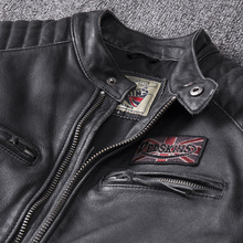 Skull Embroidered Genuine Leather Coat