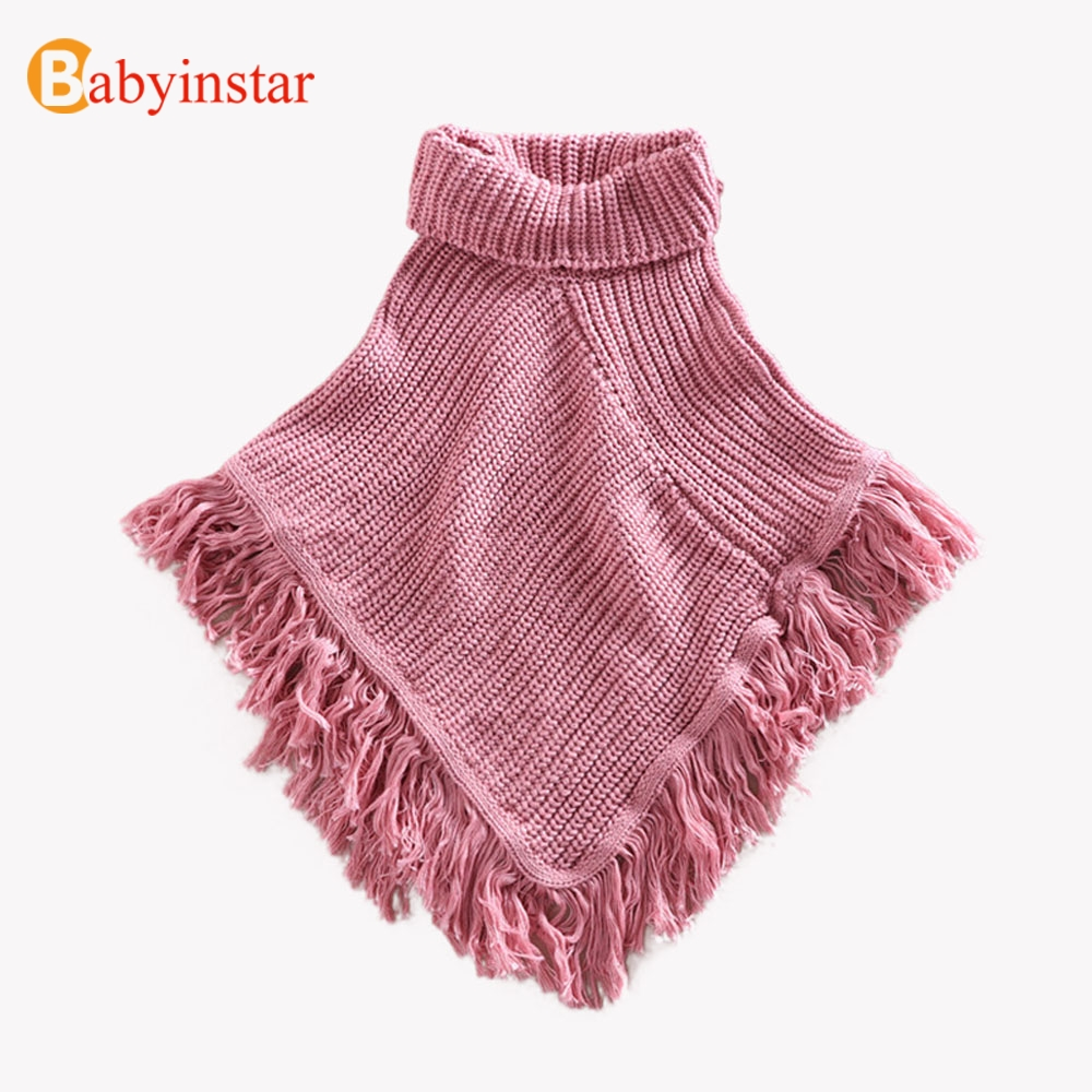 Babyinstar Girls Sweater Cloak 2018 Children Cotton Sweater Coats Turtleneck Tassel Cloak Girls Sweaters Cape Kids Knit Cardigan серьги page 9