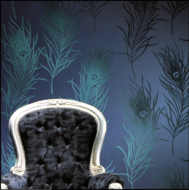 10m*53cm home decor Wallpaper eco-friendly non-woven blue green color peacock feather wall stickers TV background wall paper