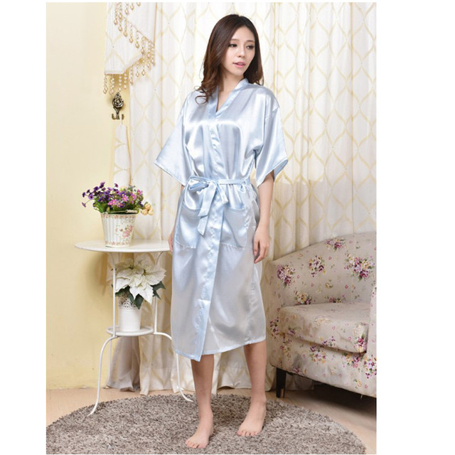 4288b115a0 Sky Blue Chinese Women Rayon Robe Sexy Lingerie Summer Lounge Kimono  Nightgown Sleepwear Plus Size S M L