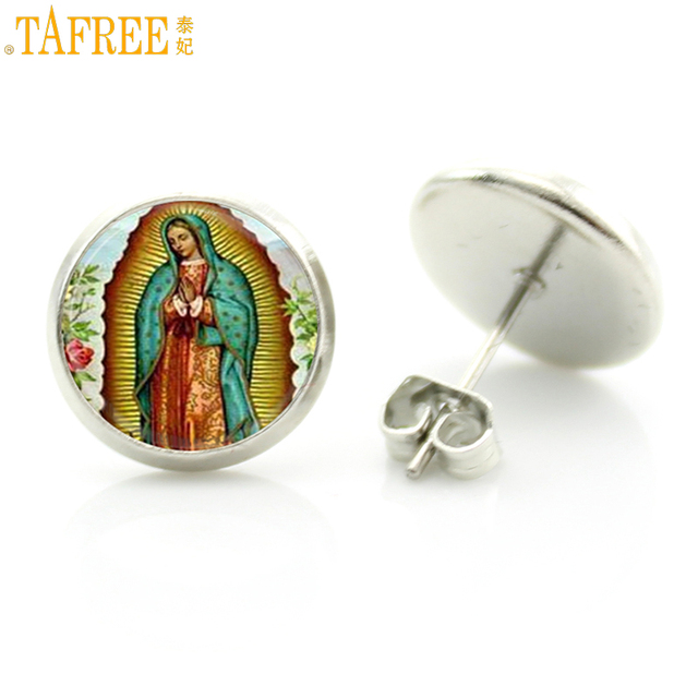 Tafree Trendy Women Stud Earrings Our Lady Of Guadalupe Jewelry Virgin Mary Buddhist Buddha