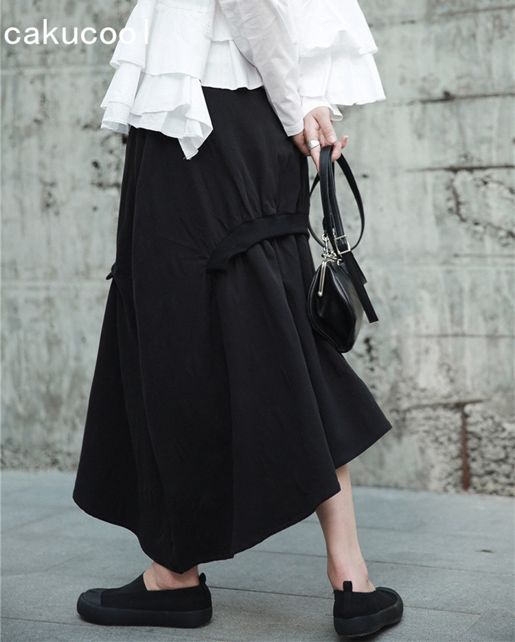 f6adb7b9311c1 Aliexpress.com : Buy Cakucool New Skirt Women Autumn Casual Asymmetric Midi  Long Skirts Japanese Designer Minimal Goth Black Skirt Cotton Linen from ...