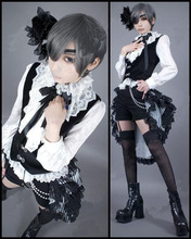 купить New Black Butler Kuroshitsuji Ciel Cosplay Costume Circus Black Uniform Outfit Halloween Adult Costumes for Women/Men S-XL по цене 2344.07 рублей