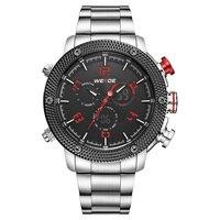 WEIDE Erkek Spor Dijital Siyah Dial Kırmızı Eller LCD Kuvars Ekran Paslanmaz Çelik Kayış Tarih Gün Alarm Kronometre Saatler