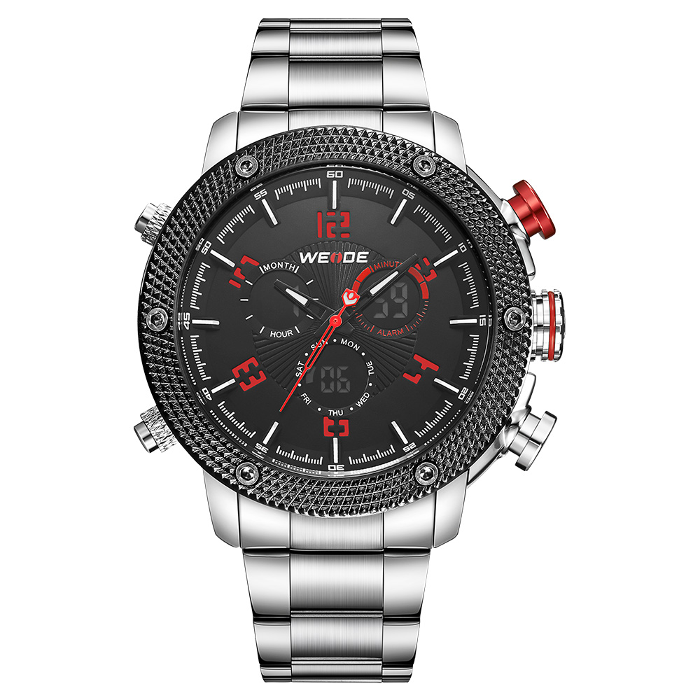 Подробнее о WEIDE Men Sport Black Dial Red hands LCD Quartz Dual Display Waterproof Stainless Steel Strap Date Day Alarm Stopwatch Watches weide dual time zone analog quartz stainless steel wrist watch date alarm stopwatch display waterproof new luxury big dial clock
