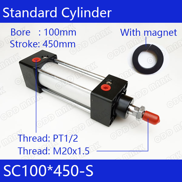 SC100*450-S Free shipping Standard air cylinders valve 100mm bore 450mm stroke single rod double acting pneumatic cylinder