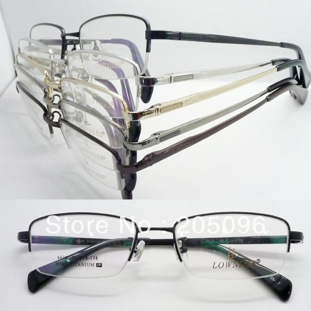 wholesale low price 6636 man pure titanium classic spring hinge square half rim optical eyeglass frames free shipping