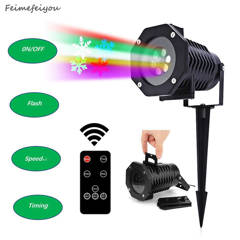 Feimefeiyou 10 styles wireless lampada LED Laser Projector Stage Light outdoor Garden Lighting changeable with remote control rg mini 3 lens 24 patterns led laser projector stage lighting effect 3w blue for dj disco party club laser
