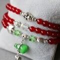 6 мм красный камень нефрит браслет тыква бутылочная опал кулон женское кристалл ювелирные изделия браслет многослойные цепь ожерелье натуральный камень