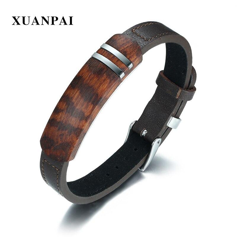 XUANPAI Antique palissandre en bois hommes Bracelet en cuir véritable Bracelet Bracelet réglable bijoux masculins livraison directe