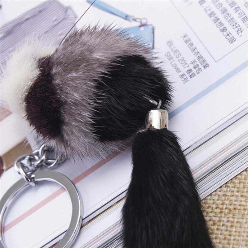 1 pc Cor aleatória Bonito Fluffy Bow-knot Fox Saco Charme Chaveiro Carro Chaveiro Bola de pele de Raposa Artificial chave Anel Mulheres Jóias
