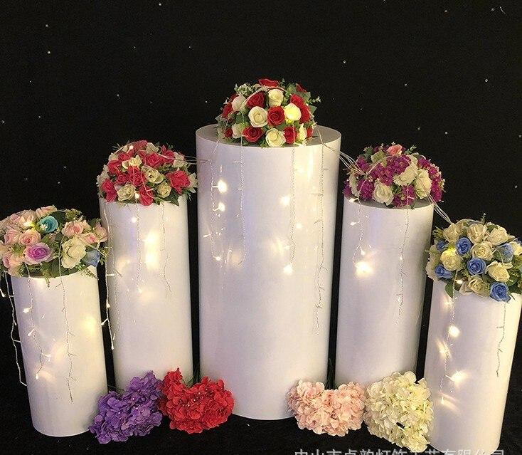 Cilindro de Metal soporte de pilar para tarta de boda flor decoración de manualidades comida caramelo Pantalla de pedestal columnas para accesorios de eventos de beca