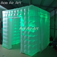 White photo booth Exclusive tent inflatable Dj booth closure with more brighter spotlights on discount