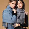 2018 Autumn Winter Female Wool Plaid <font><b>Scarf</b></font> Women Cashmere <font><b>Scarves</b></font> Wide Lattices Long Shawl <font><b>Wrap</b></font> Blanket Warm Tippet Drop Ship
