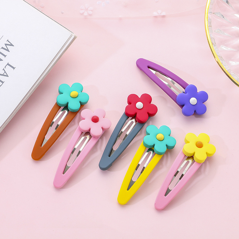M MISM INS Candy Color Flower Hairpins Polymer clay BB Clip Girls Hair Accessories Hairclips Hot Sale Barrettes Hairgrips