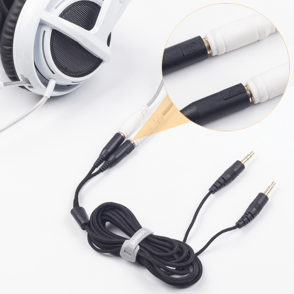 SUNGUY Replacement Computer Gaming Headphone Cables for Steelseries Siberia  V2 Headset 3 5mm Splitter Stereo Audio Cords 2m-in Earphone Accessories