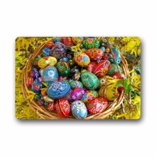 Happy Easter Colorful Eggs Indoor Outdoor Non-Slip Rubber Doormats Door Mat 23.6 x 15.7 Inch