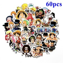 60 Pcs/Lot ONE PIECE Luffy Chopper Nami Sanji Usopp Stickers For Car Laptop Backpack Pad Bicycle Natuto Waterproof Sticker Toys(China)