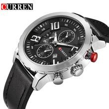 CURREN 2018 Black Silver Business Clock Male 3 Dial Classic Genuine Leather Belt Mens Quartz Watches Relogio Masculino