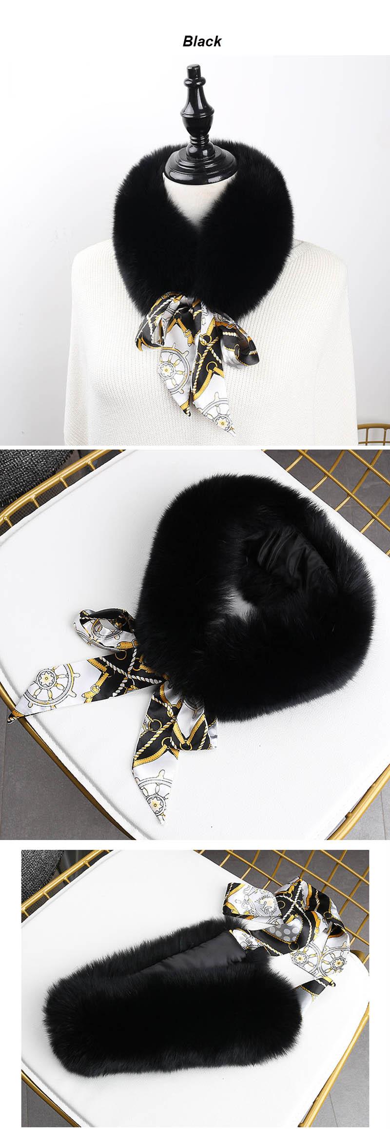 fox fur scarf with ribbon black