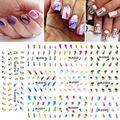 11 Листов = 1 лотов Переноса Воды Ногтей Наклейки Harajuku Радуга Перья Ногтей Обертывания Наклейки Watermark Ногтей Наклейки
