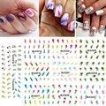11 Hojas = 1 lotes de Transferencia de Agua Nails Art Sticker Harajuku Arco Iris Plumas Nail Wraps Pegatina Marca de Agua Calcomanías de Uñas