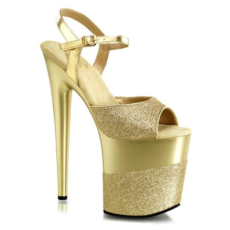 Femmes Plate-Forme Sandales 20 cm Haute Talons Noir Glitter Femmes Chaussures Fenty Beauté Sexy Dames D'été Stripper Chaussures Plus La Taille 43