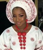 2017 Novas Contas de Cristal Jóias Set Casamento Nigeriano Africano Vermelho Colar de Pingente de Declaração Conjunto de Noivas Frete Grátis WE052