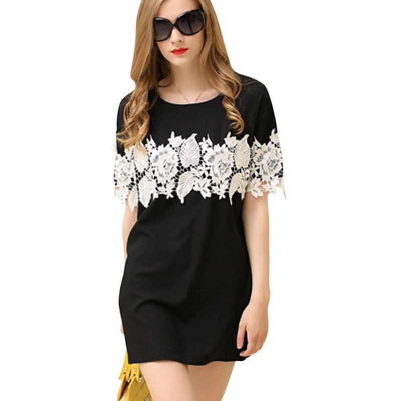 Women Summer Dress Sexy Fashion Lace Decor Vestidos De Verano Round Collar Casual Short Sleeve T Shirt Dresses 2019 in Dresses from Women 39 s Clothing
