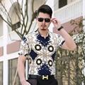 2017 Новый Дизайн Мужская Летняя Мода Stripes Рубашки С Коротким Рукавом Мода Модели Рубашки Для Человека