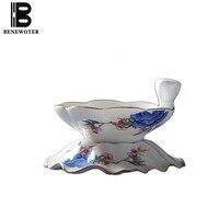 Kreative Tee Sieb Keramik Porzellan Flach Relief Muster Tee Ablauf Büro Kung Fu Tee-Set Zubehör Kaffee Milch Filter