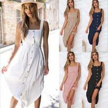 купить New Women Dress Sleeveless Knee-Length Solid Slash Neck Spaghetti Strap Button Dress Knitting Summer Sexy Female Sling Dress по цене 1108.53 рублей