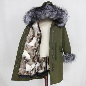 Image 4 - OFTBUY Parka imperméable, manteau Long dextérieur en vraie fourrure de raton laveur, veste dhiver pour femmes, capuche en fourrure de renard, doublure chaude détachable