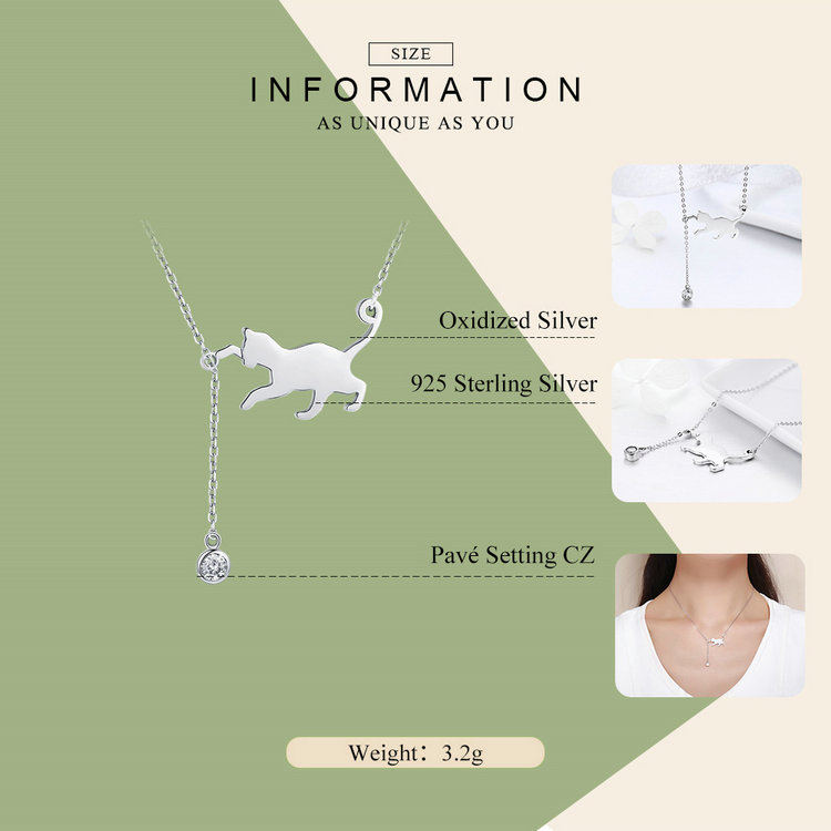 HTB1117WfyCYBuNkSnaVq6AMsVXav BAMOER Fashion Genuine 925 Sterling Silver Cute Pet Pussy Cat Chain Pendant Necklace for Women Sterling Silver Jewelry SCN232