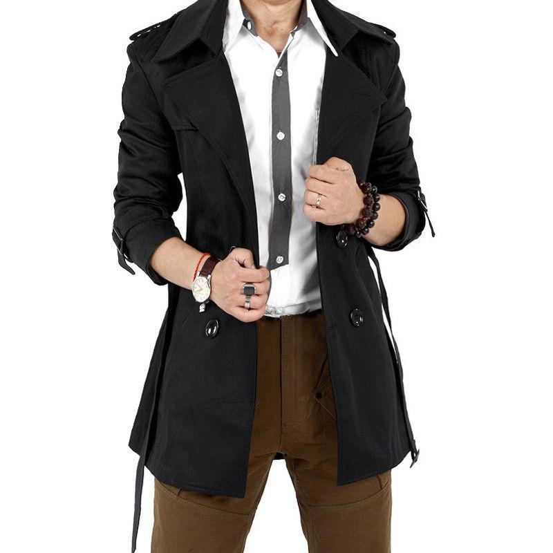 MISSKY Autumn Men Trench Windbreaker Long Solid Color Jacket with Double-breasted Buttons Lapel Collar Coat Male Clothes 2019
