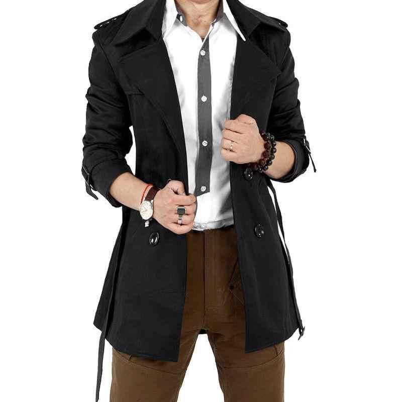 MISSKY Осенняя Мужская Тренч штормовка длинная однотонная куртка с двубортными пуговицами с воротником