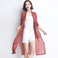 POEM HEART 2017 Fashion Spring And Summer Long Cardigan Coat Hemp Material Hollow Out Pure Cardigan