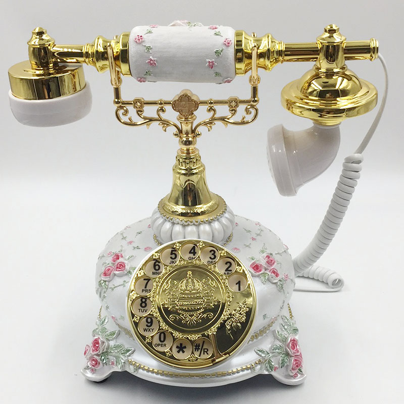 Antique Metal Rotation Dialing Landline Phone With Flower ABS Handle For Office Phone Home Telefono Fijo