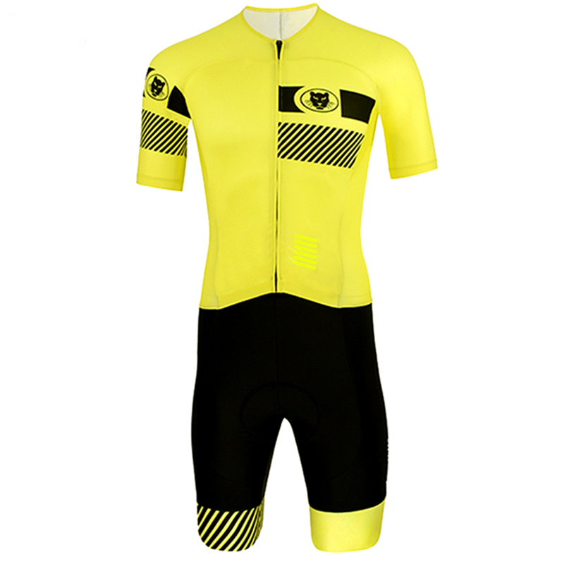 Summer short sleeve skinsuit cycling jersey 2018 pro team yellow skinsuit ciclismo pro new men cycling short sleeve sets bike
