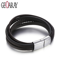 Geoaray Vintage Braided Genuine Leather Bracelet for Men Women Stainless Steel Magnetic Clasp Handmade Jewelry