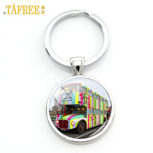 TAFREE 2017 new London Double Decker Bus key chain ring holder united kingdom travel art Peace hippie van bus car keychain H171(China)