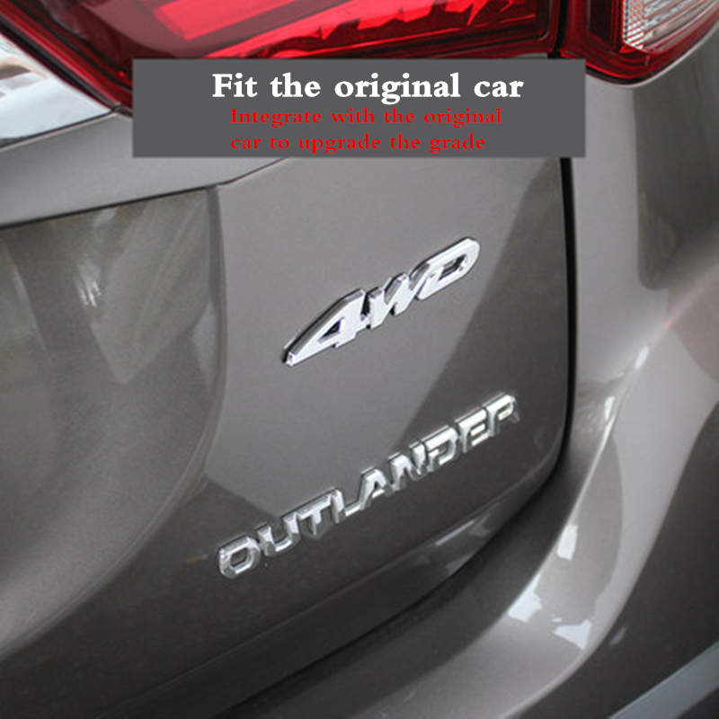 Image 5 - For Mitsubishi Outlander 2013 2015 2016 2017 2018 Exterior Modified special 3D 4WD letter stickers four wheel drive logo sticker-in Car Stickers from Automobiles & Motorcycles