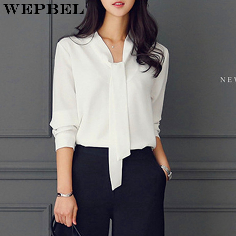 Wepbel Tie Collar Simple Business Style   Blouse     Shirt   Long Sleeve Women Chiffon Microfiber Tops Office Clothes