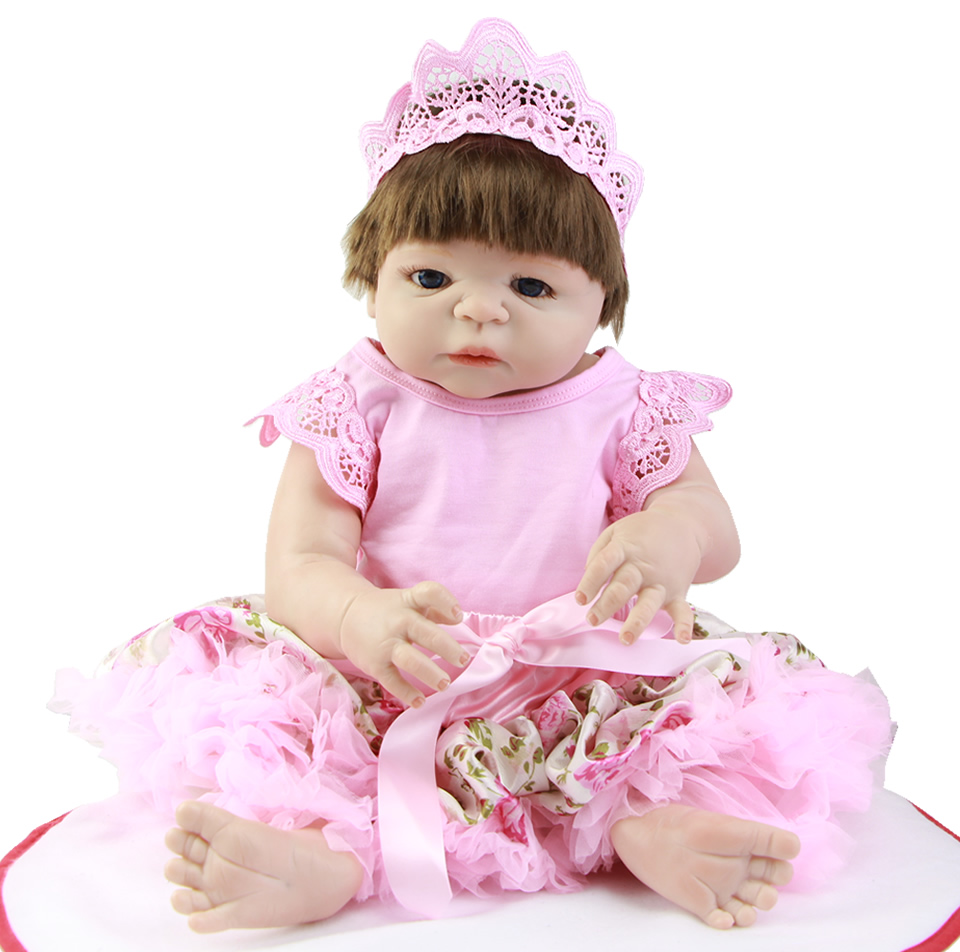 Hot Wholesale 23 Inch Full Silicone Reborn Baby Dolls Girls Realistic Adorable Red Skin Reborn Dolls